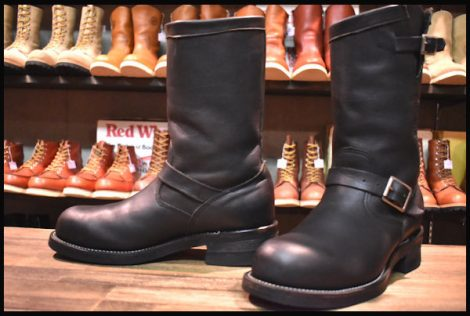 【良品 PT99 白タグ】Chippewa チペワ エンジニア 27863 ブーツ 黒 ブラック スチールトゥ 8E HOPESMORE