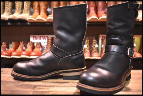 【9D 良品 PT91刺繍タグ】レッドウィング 2268 エンジニア ブーツ 黒 ブラック クローム スチールトゥ redwing HOPESMORE