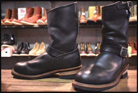 【9D 良品 PT91刺繍】レッドウィング 2268 エンジニア ブーツ 黒 ブラッククローム スチールトゥ redwing HOPESMORE