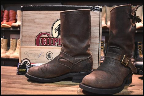 【箱付 良品 白タグ】Chippewa チペワ エンジニア ブーツ 27921 ブラック ボンバーレザー 茶 スチール無し 7.5D HOPESMORE