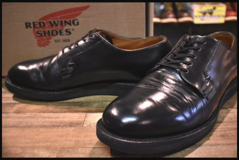 【9.5D 箱付 良品】レッドウィング 101 ポストマン シューズ ブーツ 黒 ブラック シャパラル プレーントゥ 12年製 redwing HOPESMORE