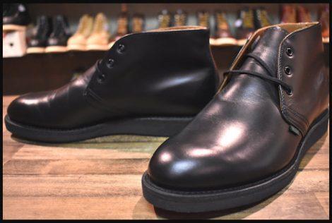 【9D 未使用】レッドウィング 9196 ポストマン チャッカ ブーツ 黒 ブラック シャパラル 短靴 ローカット 12年製 redwing HOPESMORE