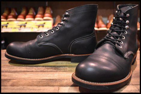 【10D 美品 10年】レッドウィング 8114 アイアンレンジ ブーツ 黒 ブラックハーネス キャップトゥ redwing HOPESMORE