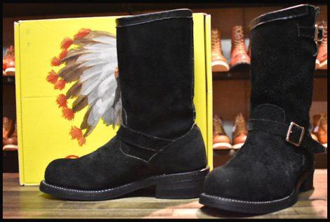 【9E 良品 黒タグ】Chippewa チペワ 黒スエード エンジニア ブーツ ブラック 91069 スチールトゥ HOPESMORE