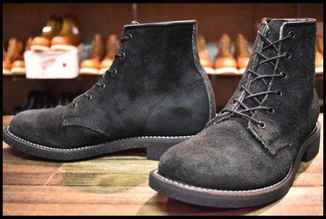 【9.5D 良品 黒タグ】チペワ 97060 黒スエード 編み上げ 6インチ ブーツ ブラックオデッサ プレーントゥ HOPESMORE