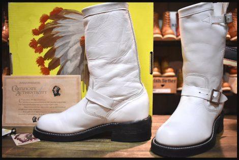 【5.5E 箱付 良品 白タグ】Chippewa チペワ ホワイト エンジニア ブーツ 91063 白 スチール無し レディース HOPESMORE