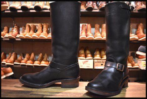 【9E 美品 09年】WESCO ウエスコ ナローボス ロング エンジニア ブーツ ブラック 黒 BOSS HOPESMORE