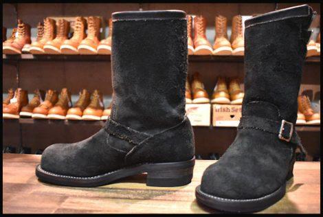 【8E 良品 黒タグ】Chippewa チペワ 黒スエード エンジニア ブーツ ブラック 91069 スチールトゥ HOPESMORE
