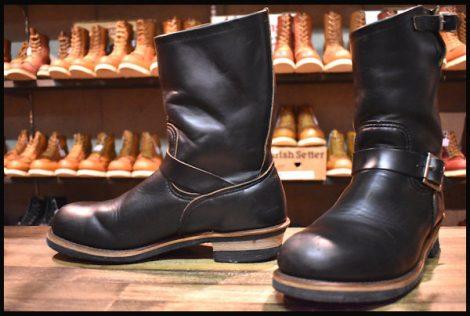 【10D 良品 PT91プリント】レッドウィング 2268 エンジニア ブーツ 黒 ブラック クローム スチールトゥ redwing HOPESMORE