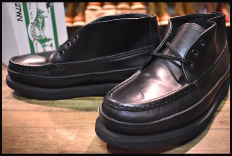 【7.5E 箱付 未使用】RUSSELL MOCCASIN ラッセルモカシン スポーティングクレーチャッカ ブーツ 200-27WV ブラック 黒 HOPESMORE