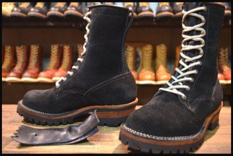 【美品】VIBERG ヴァイバー ロガー ブーツ 黒 ブラック ラフアウト スエード 編み上げ UK6.5 ヴァイバーグ ヴィバーグ HOPESMORE