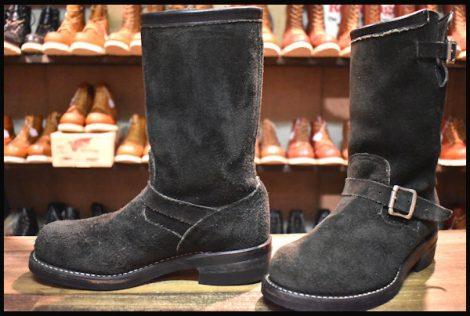 【7E 良品 黒タグ】Chippewa チペワ 黒スエード エンジニア ブーツ ブラック 91069 スチールトゥ HOPESMORE